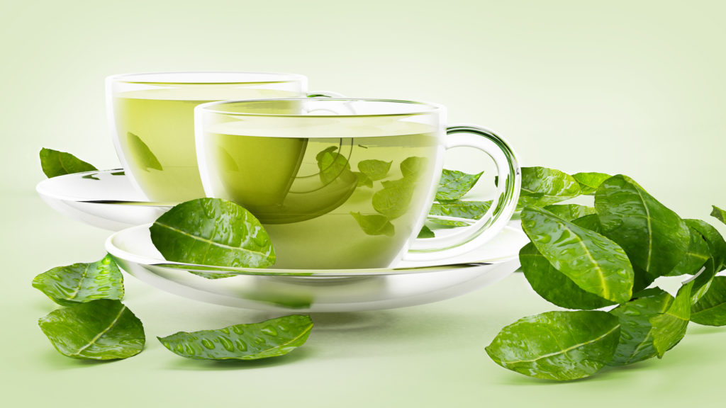 Green tea in tea cups