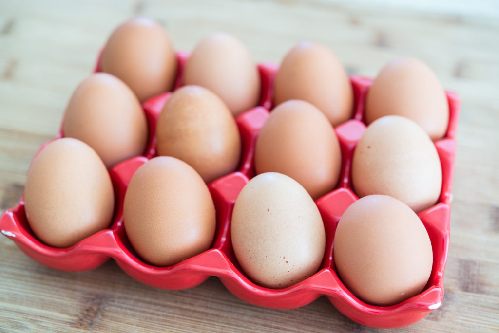 Eggs in egg crate
