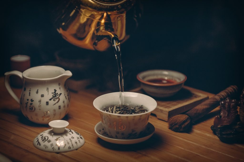 White tea leaves in a cup