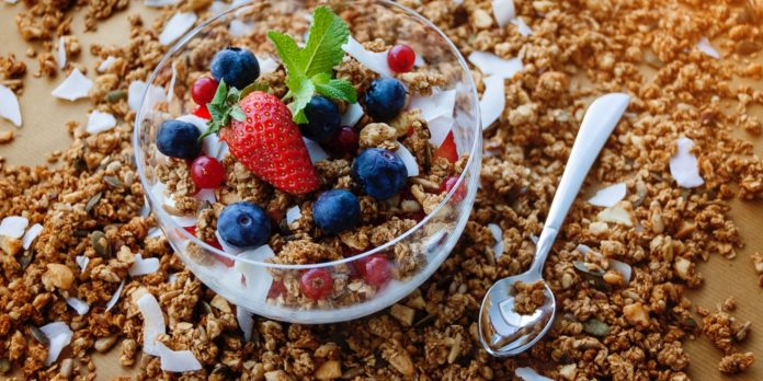 A bowl of granola cereal